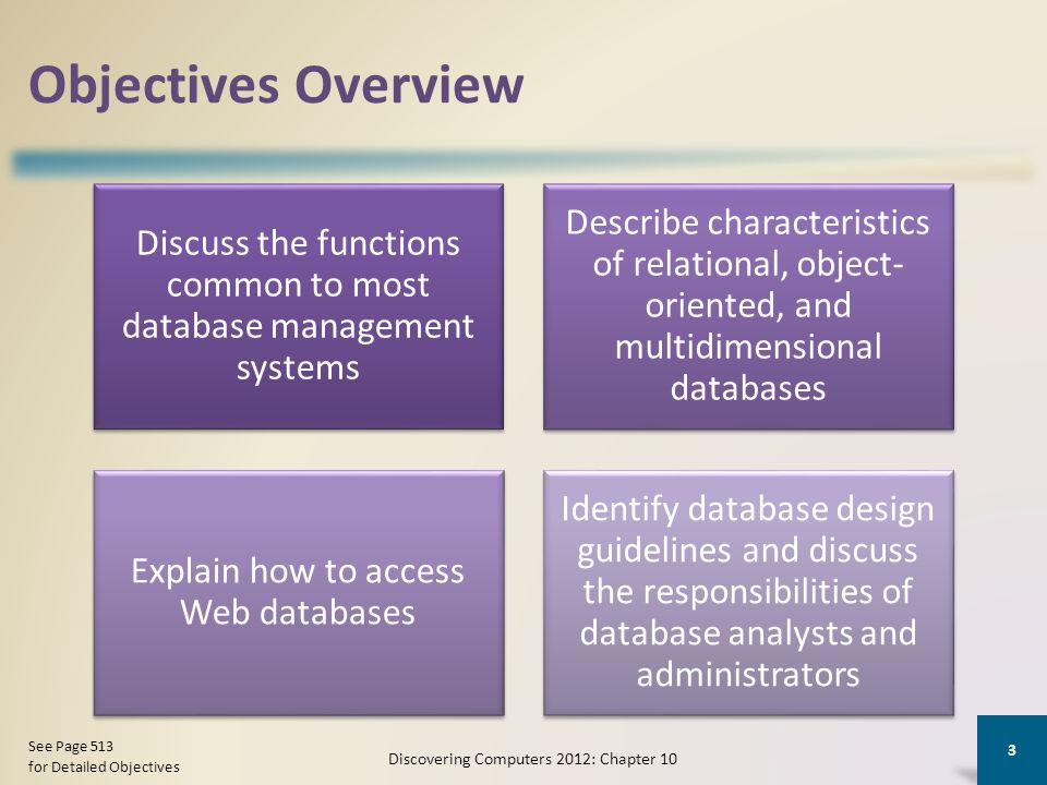 objectives overview discuss the functions common to most database management systems - Database Design Guidelines
