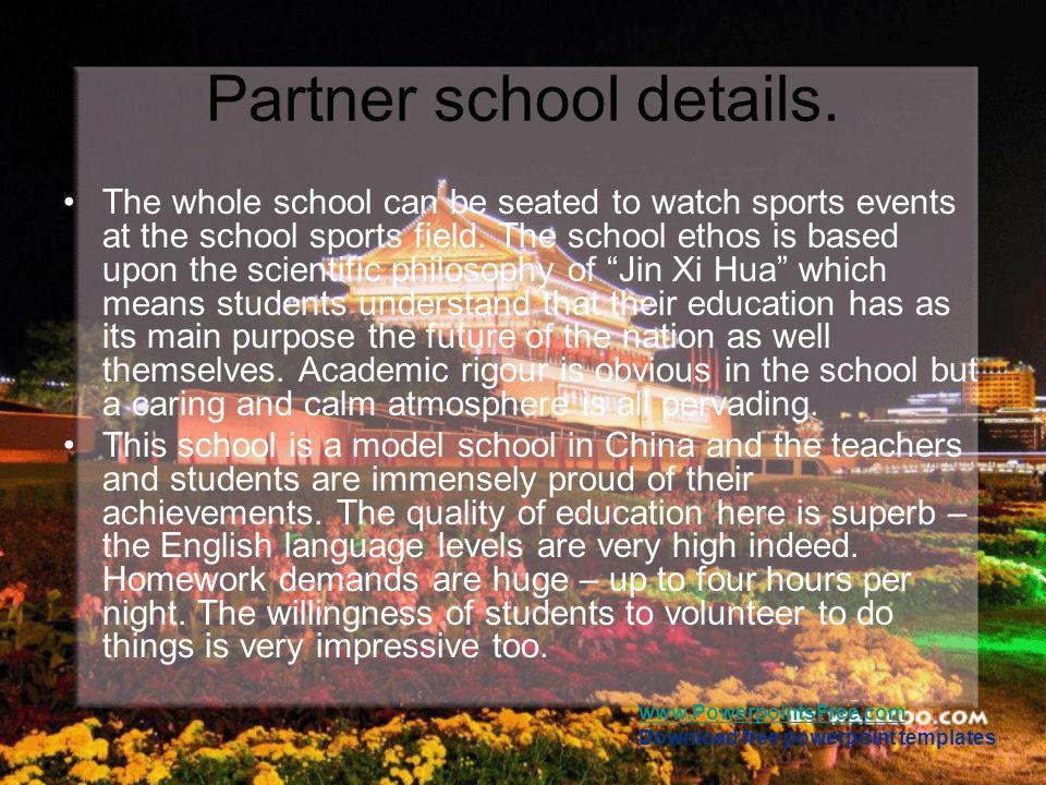 Partner school details.