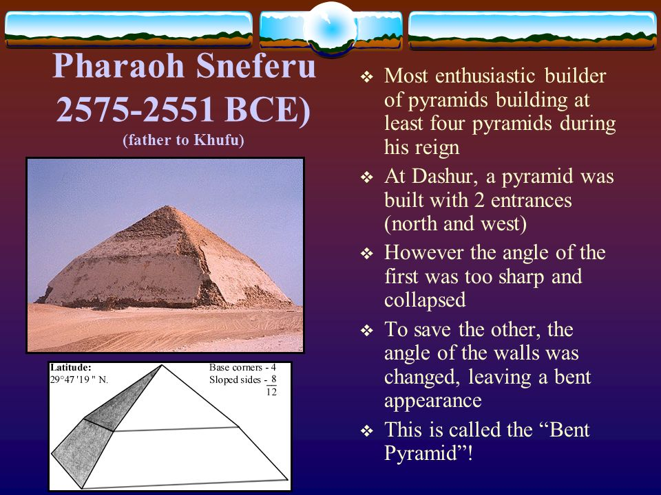Pharaoh Sneferu 2575-2551 BCE) (father to Khufu)