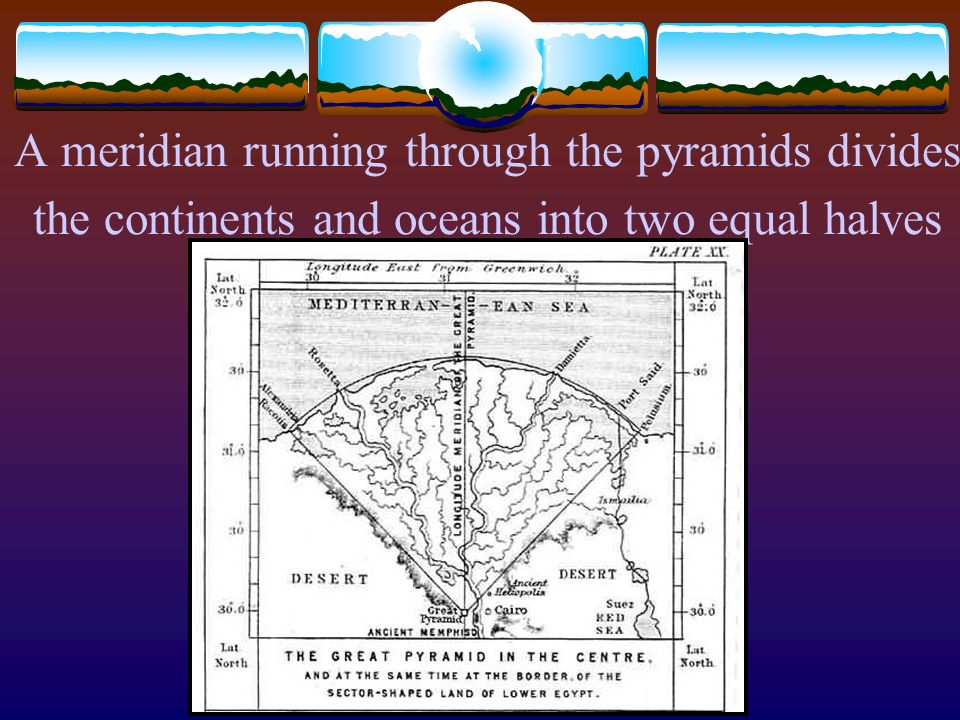 A meridian running through the pyramids divides the continents and oceans into two equal halves