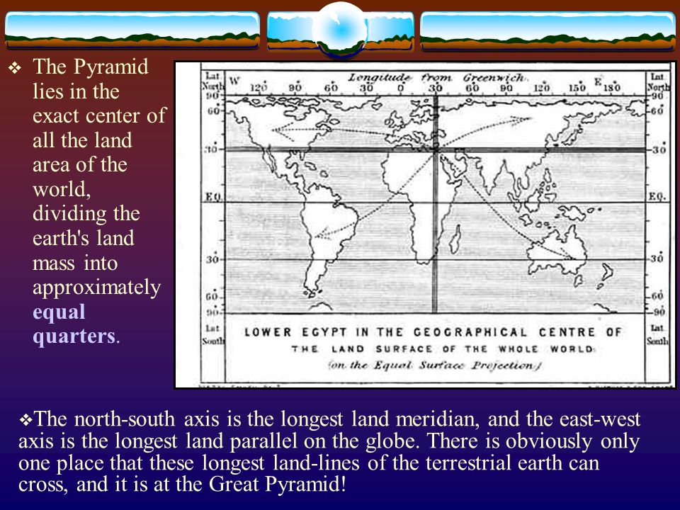 The Pyramid lies in the exact center of all the land area of the world, dividing the earth s land mass into approximately equal quarters.