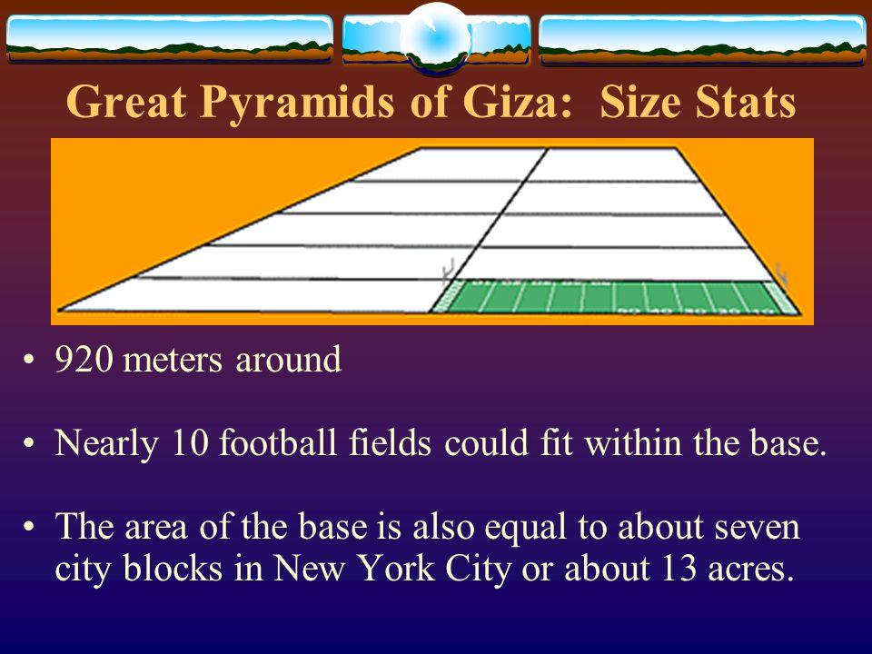 Great Pyramids of Giza: Size Stats