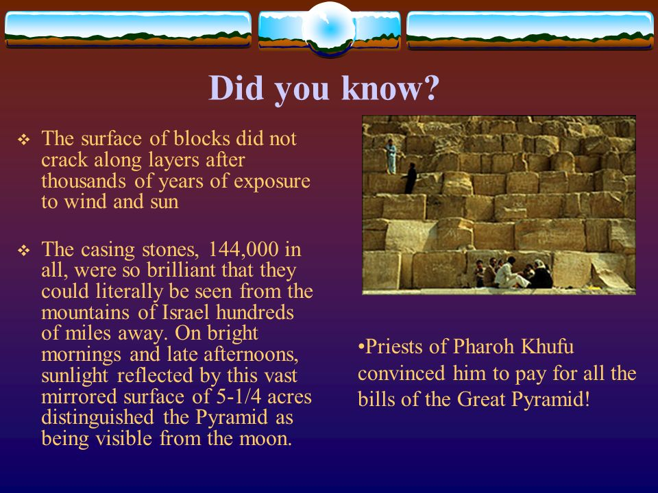 Did you know The surface of blocks did not crack along layers after thousands of years of exposure to wind and sun.