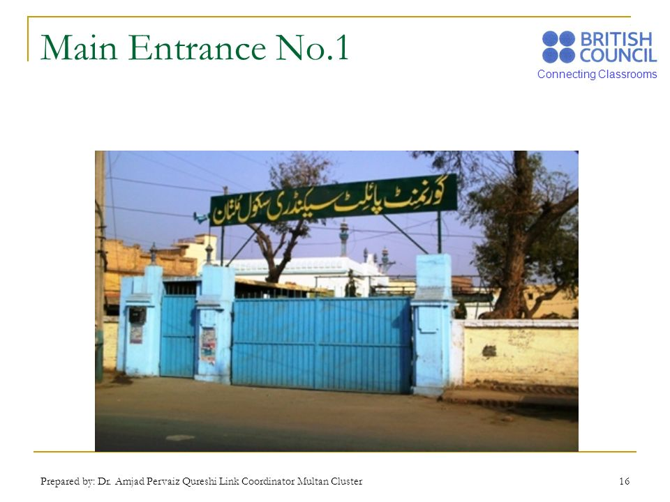 Main Entrance No.1 Prepared by: Dr. Amjad Pervaiz Qureshi Link Coordinator Multan Cluster