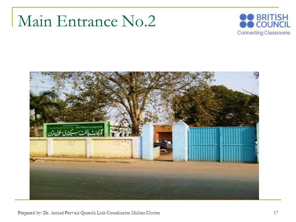 Main Entrance No.2 Prepared by: Dr. Amjad Pervaiz Qureshi Link Coordinator Multan Cluster