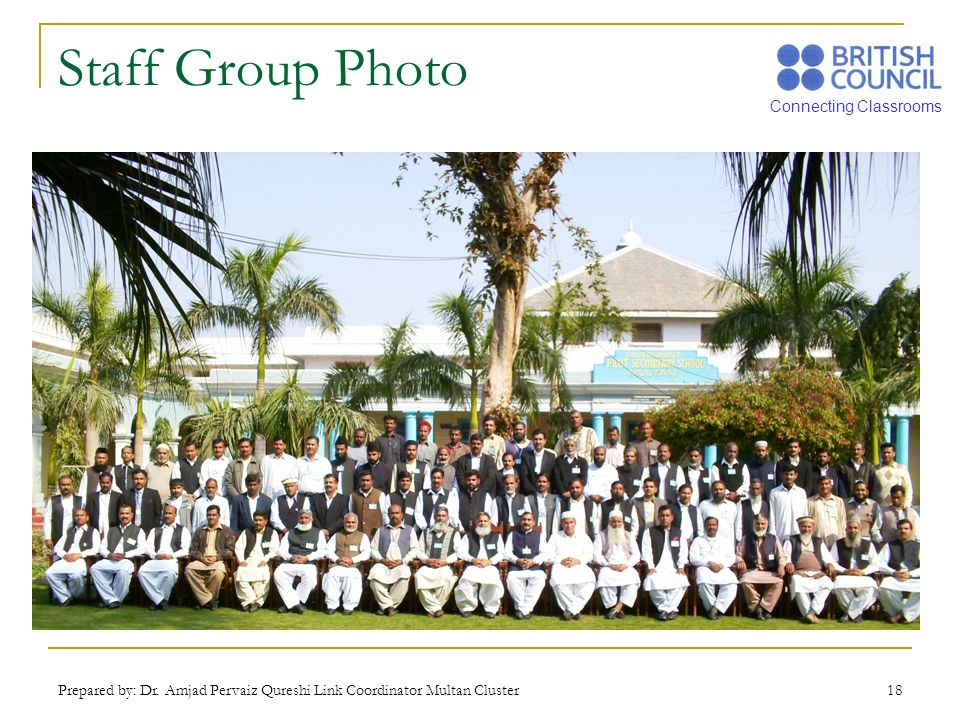 Staff Group Photo Prepared by: Dr. Amjad Pervaiz Qureshi Link Coordinator Multan Cluster