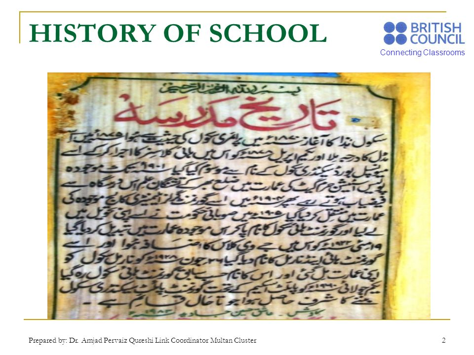 HISTORY OF SCHOOL Prepared by: Dr. Amjad Pervaiz Qureshi Link Coordinator Multan Cluster