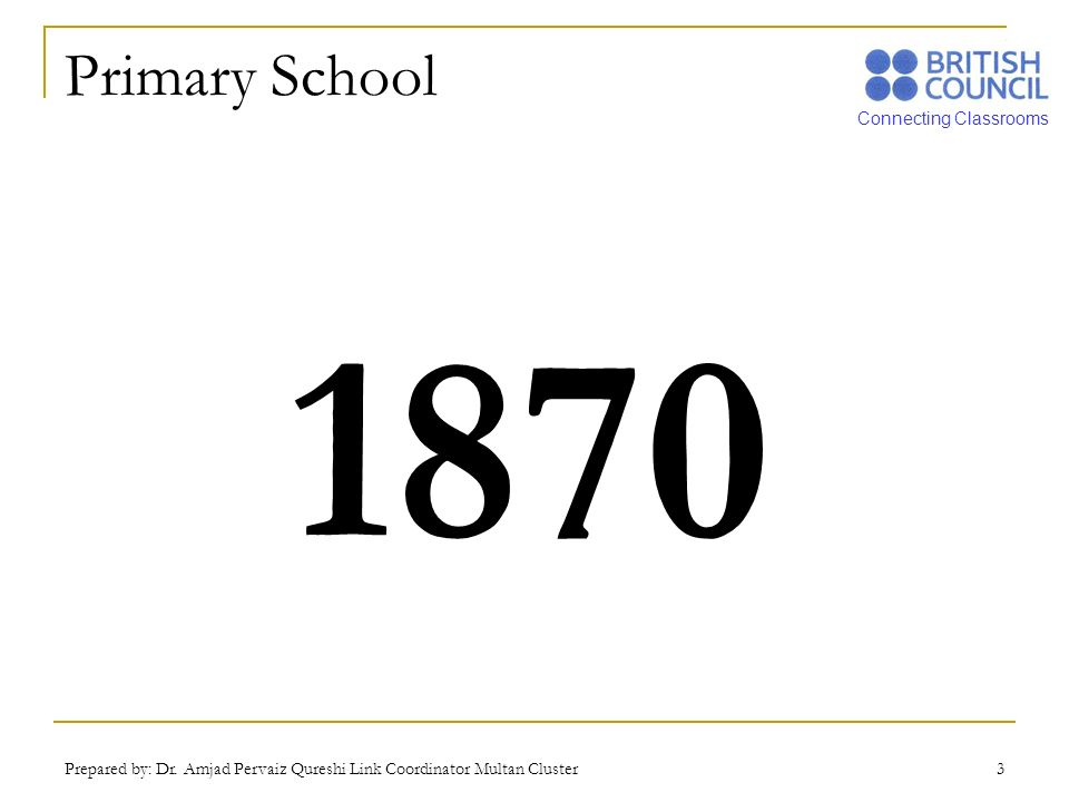 Primary School 1870 Prepared by: Dr. Amjad Pervaiz Qureshi Link Coordinator Multan Cluster