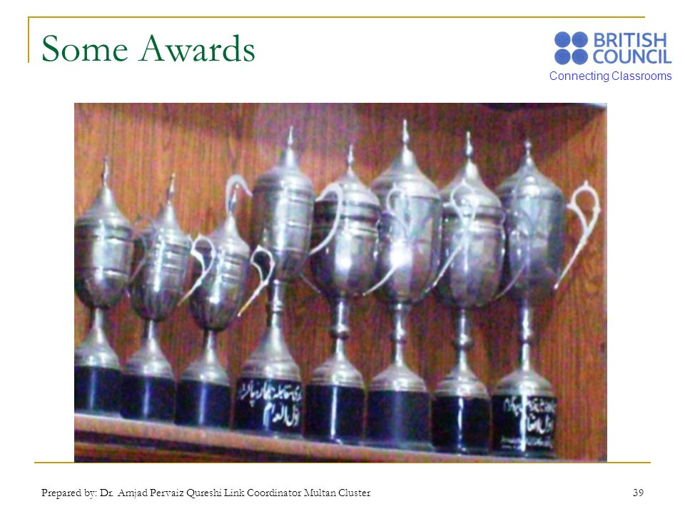 Some Awards Prepared by: Dr. Amjad Pervaiz Qureshi Link Coordinator Multan Cluster