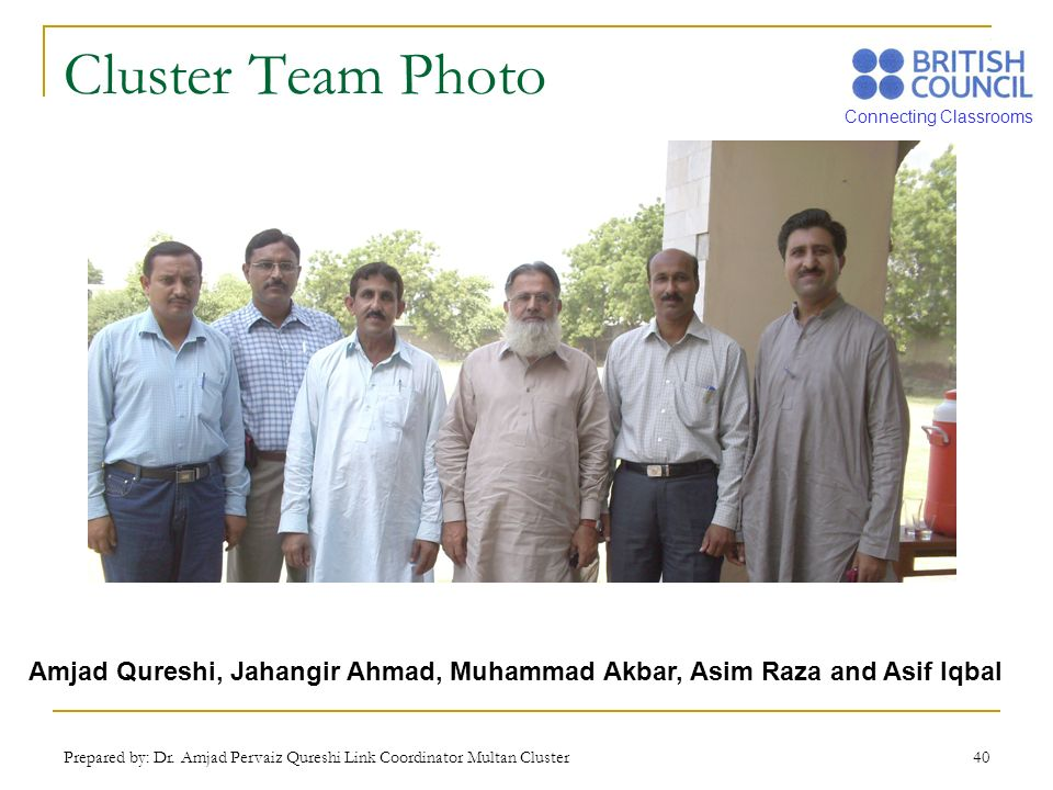 Cluster Team Photo Amjad Qureshi, Jahangir Ahmad, Muhammad Akbar, Asim Raza and Asif Iqbal.