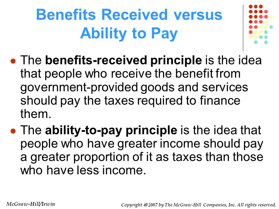 Benefits Received versus Ability to Pay