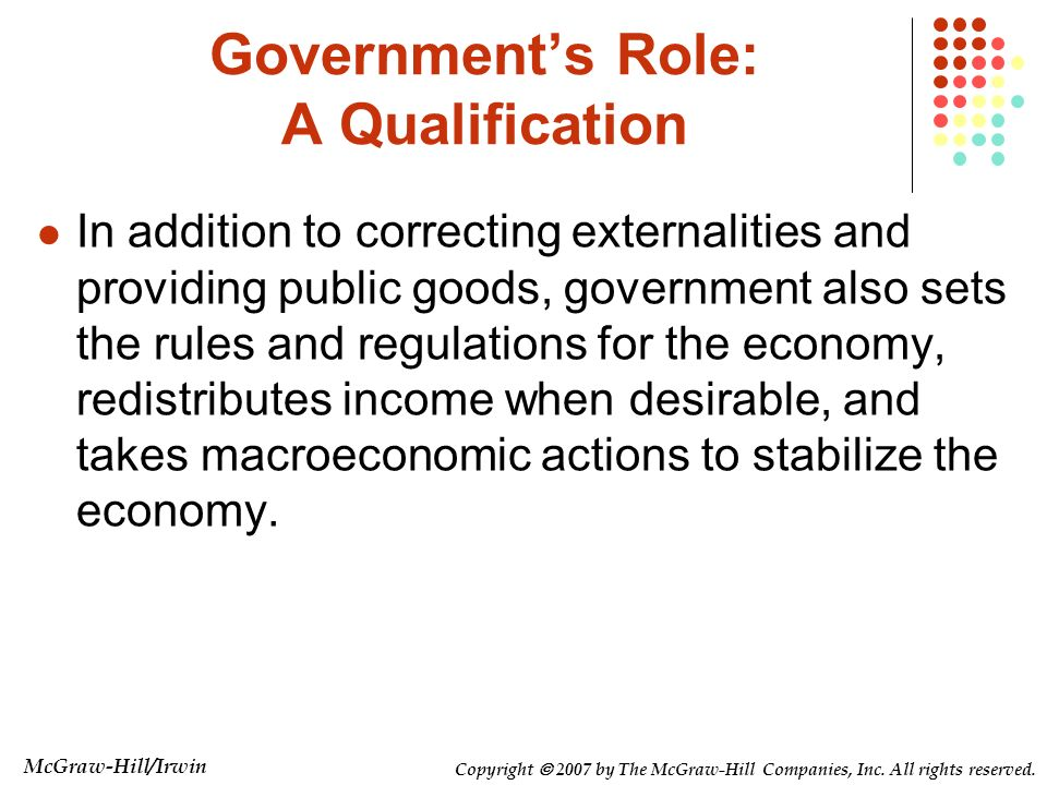 Government's Role: A Qualification