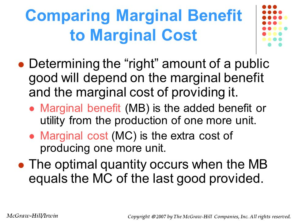Comparing Marginal Benefit to Marginal Cost