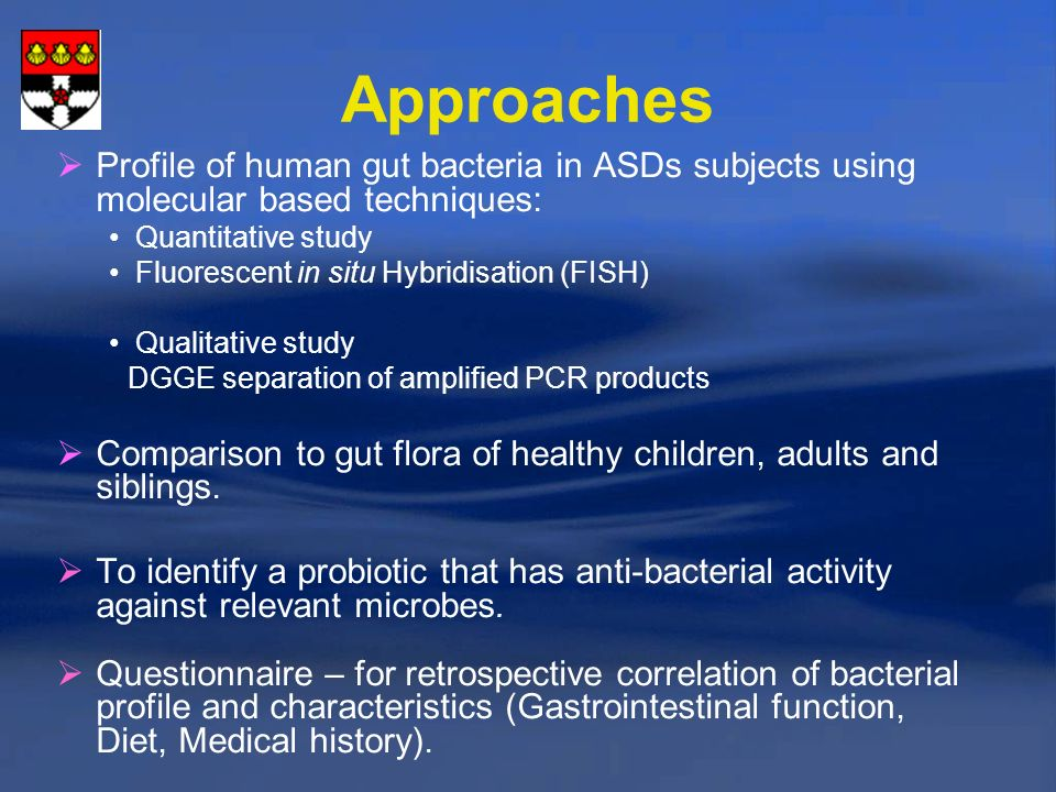 Approaches Profile of human gut bacteria in ASDs subjects using molecular based techniques: Quantitative study.