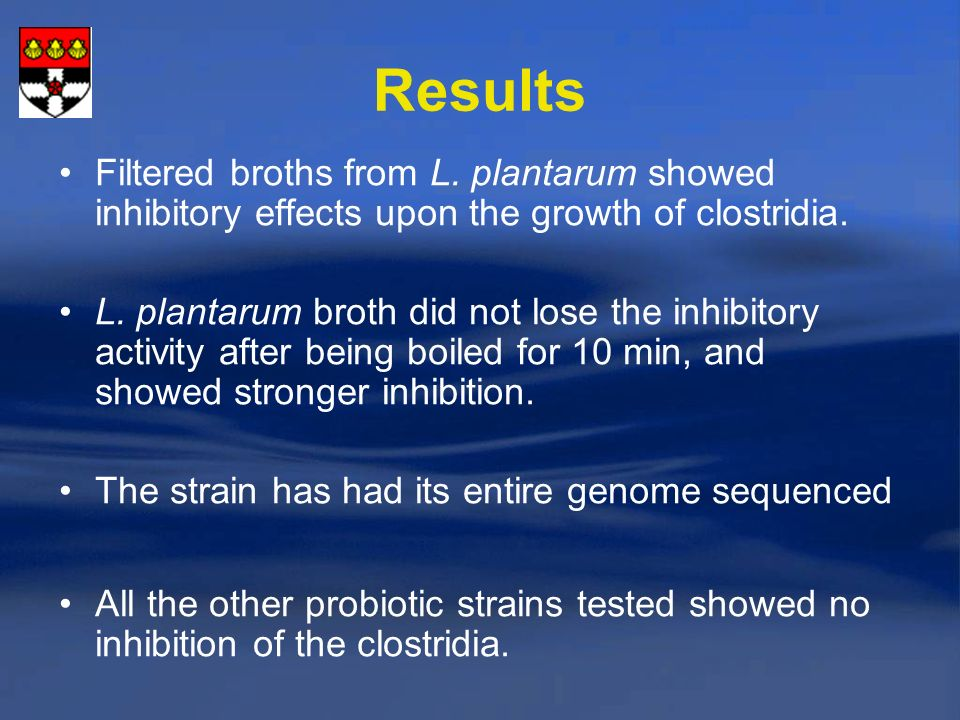 Results Filtered broths from L. plantarum showed inhibitory effects upon the growth of clostridia.