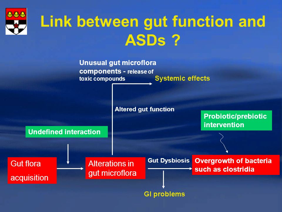 Link between gut function and ASDs