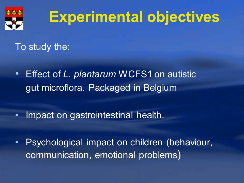 Experimental objectives
