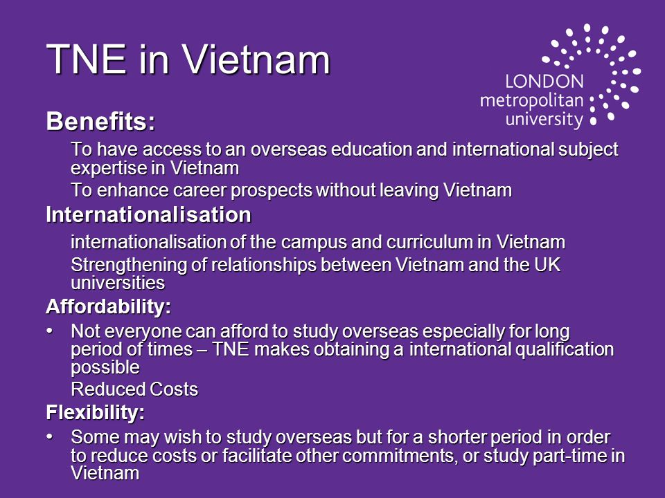 TNE in Vietnam Benefits: Internationalisation