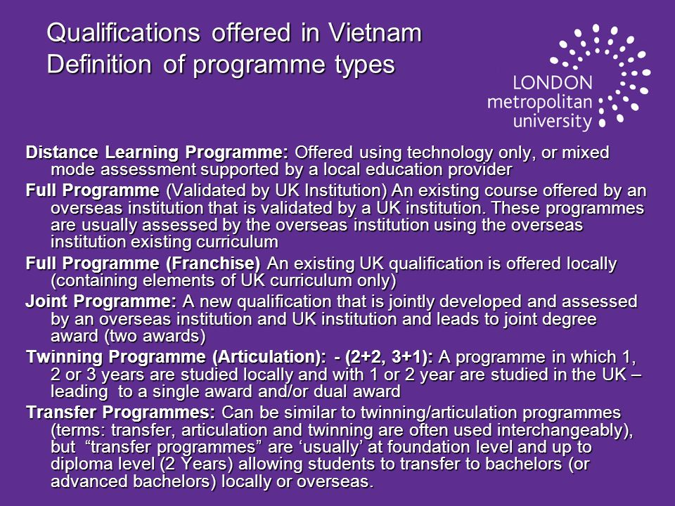 Qualifications offered in Vietnam Definition of programme types