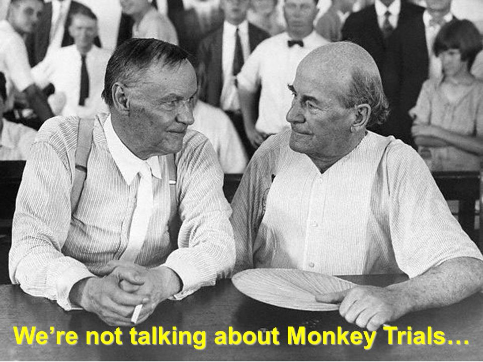 We're not talking about Monkey Trials…