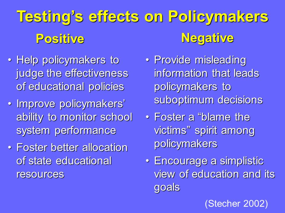 Testing's effects on Policymakers