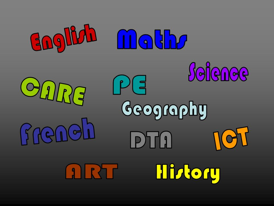English Maths Science PE CARE Geography French ICT DTA ART History