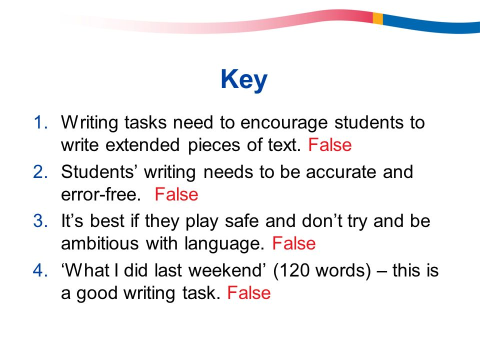 Key Writing tasks need to encourage students to write extended pieces of text. False. Students' writing needs to be accurate and error-free. False.