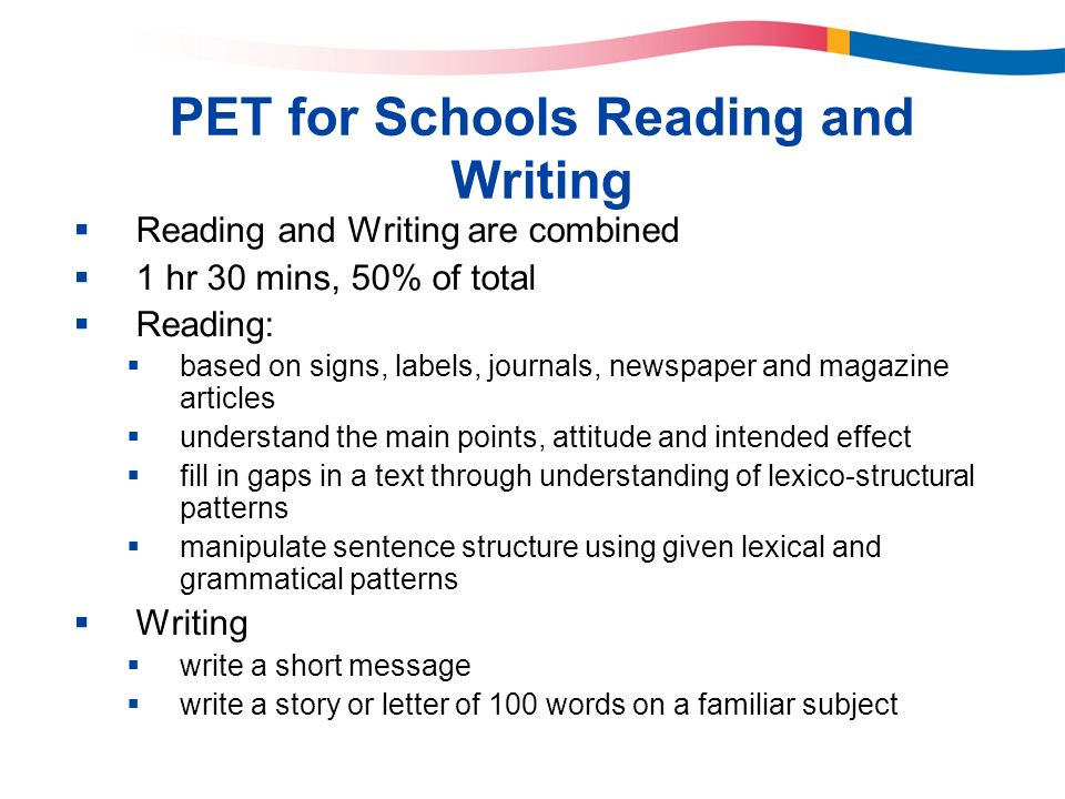 PET for Schools Reading and Writing