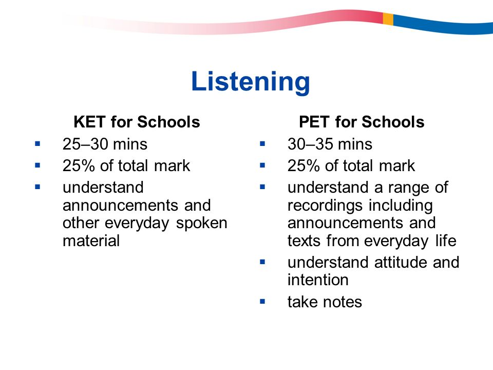 Listening KET for Schools 25–30 mins 25% of total mark