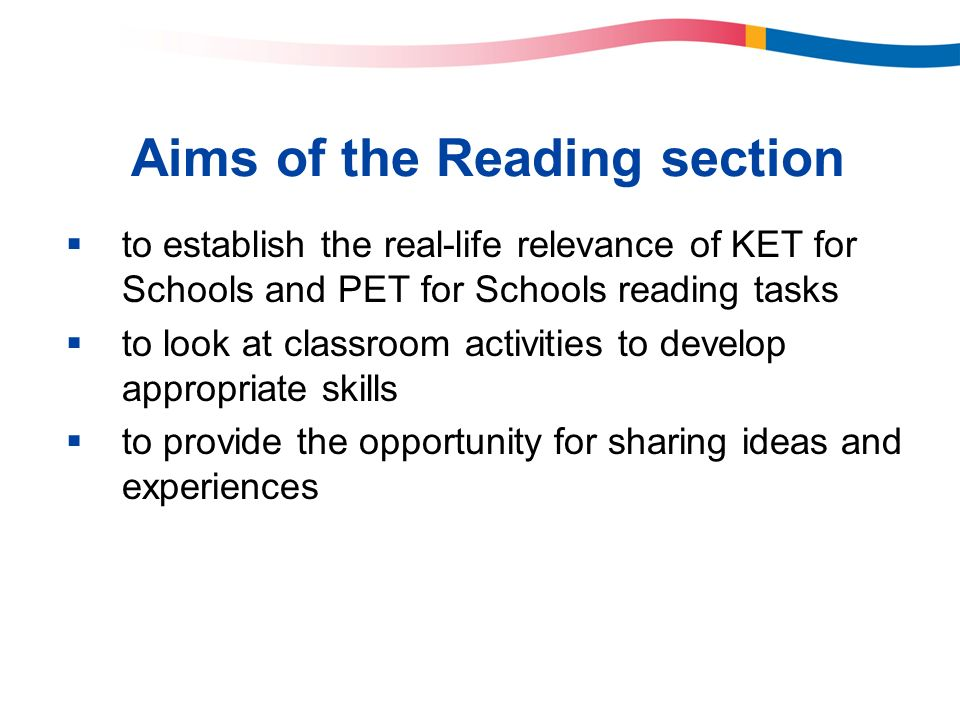 Aims of the Reading section