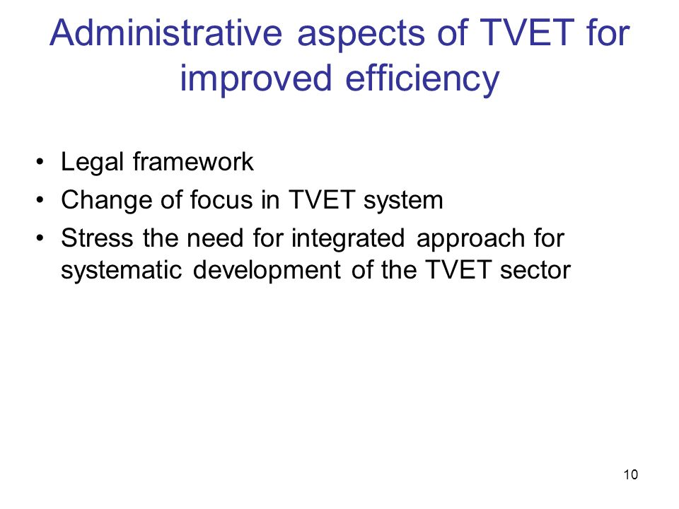Administrative aspects of TVET for improved efficiency
