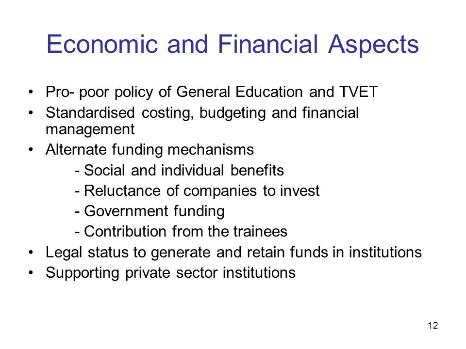 Economic and Financial Aspects
