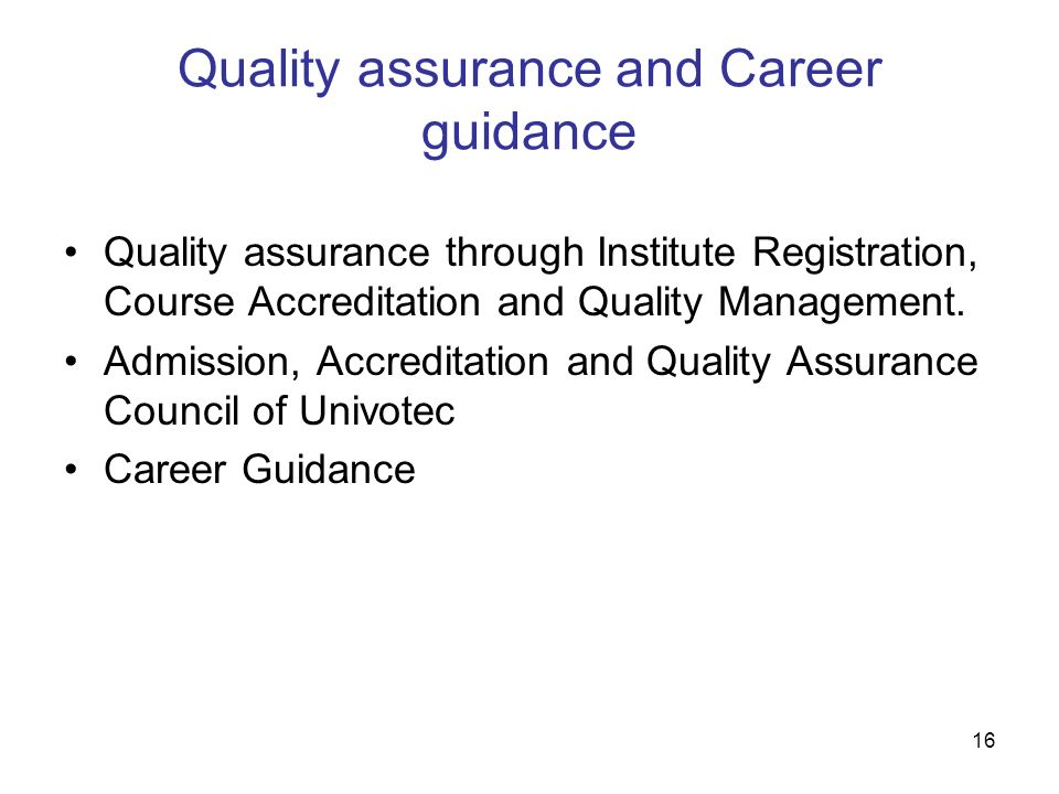 Quality assurance and Career guidance