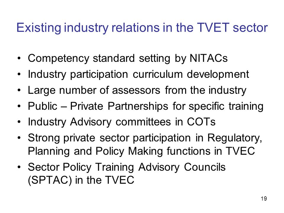 Existing industry relations in the TVET sector