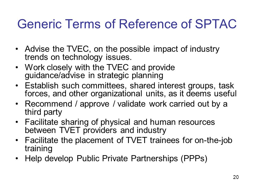 Generic Terms of Reference of SPTAC