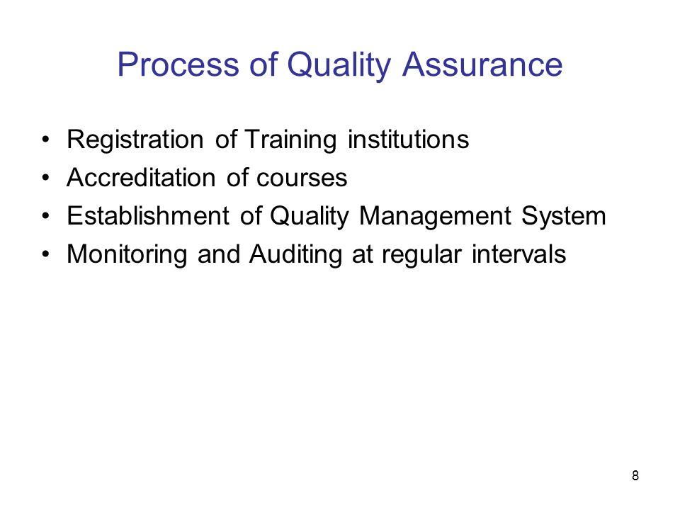 Process of Quality Assurance