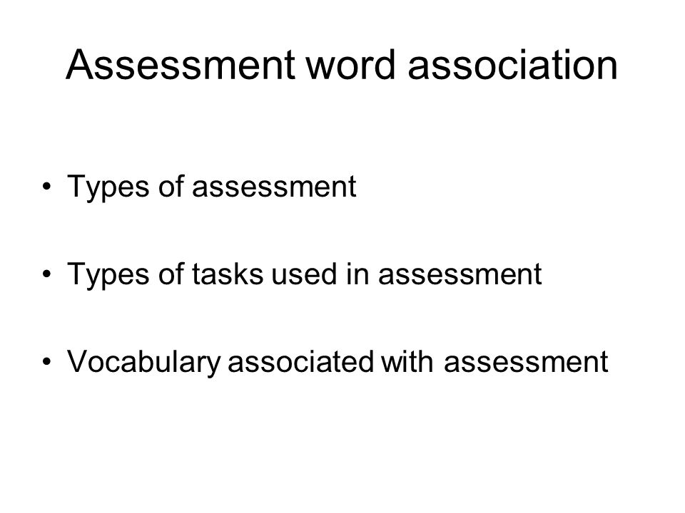 Assessment word association