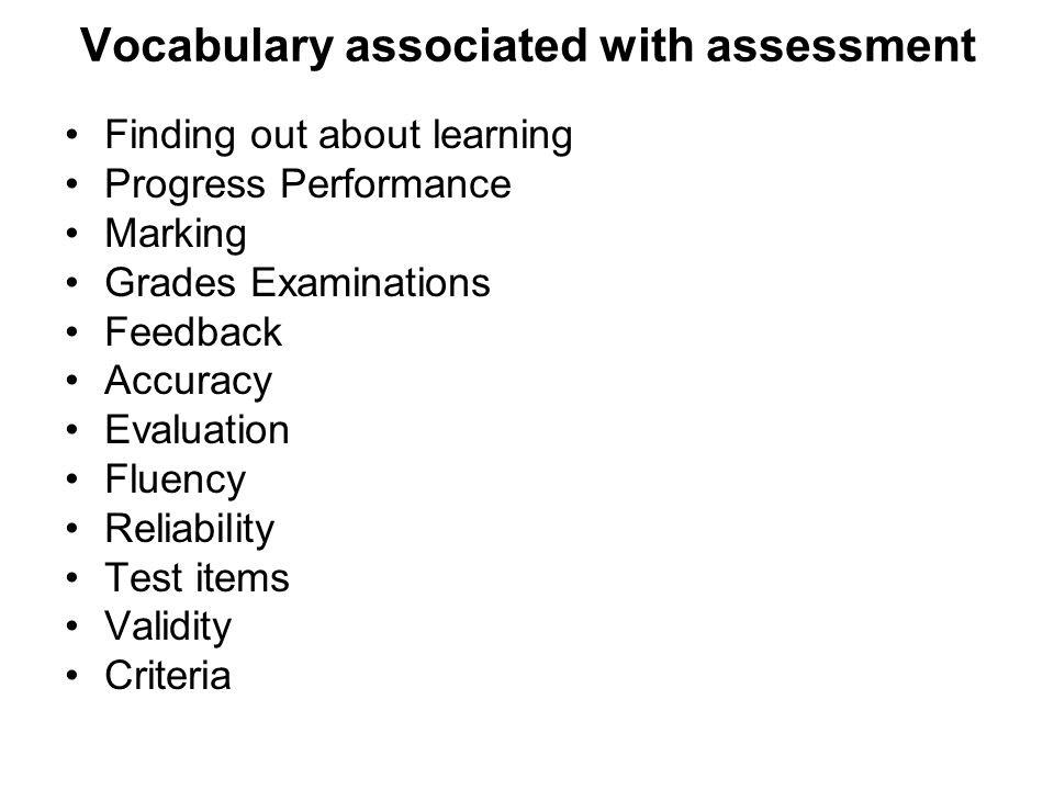 Vocabulary associated with assessment