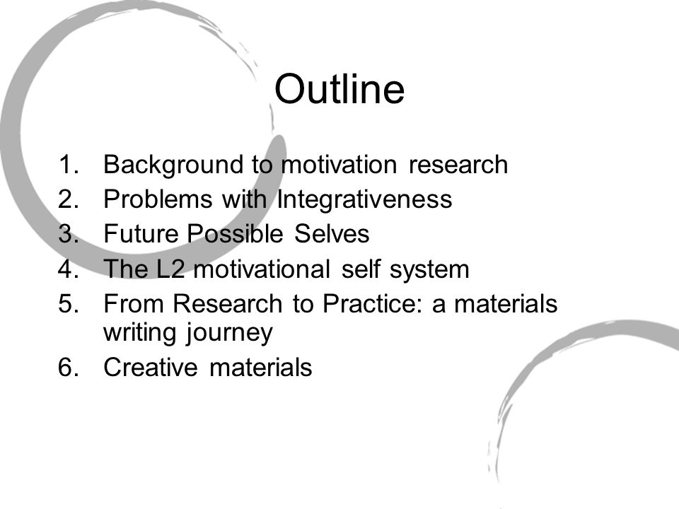 Outline Background to motivation research