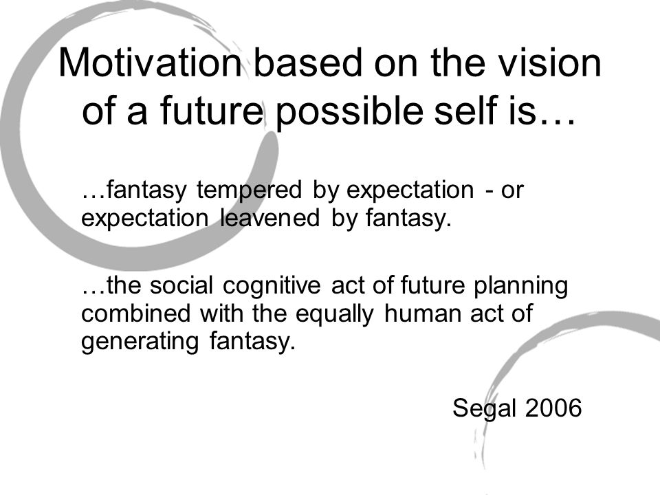 Motivation based on the vision of a future possible self is…
