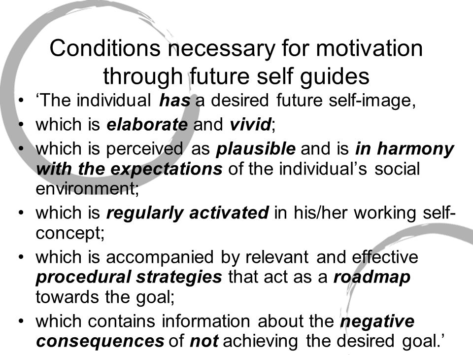 Conditions necessary for motivation through future self guides