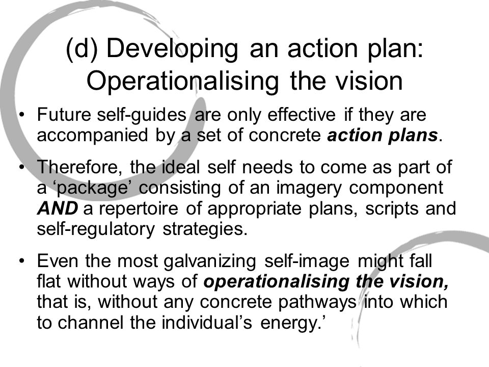 (d) Developing an action plan: Operationalising the vision
