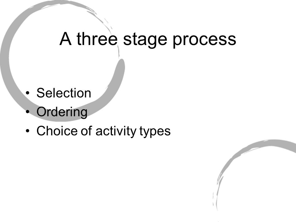 A three stage process Selection Ordering Choice of activity types