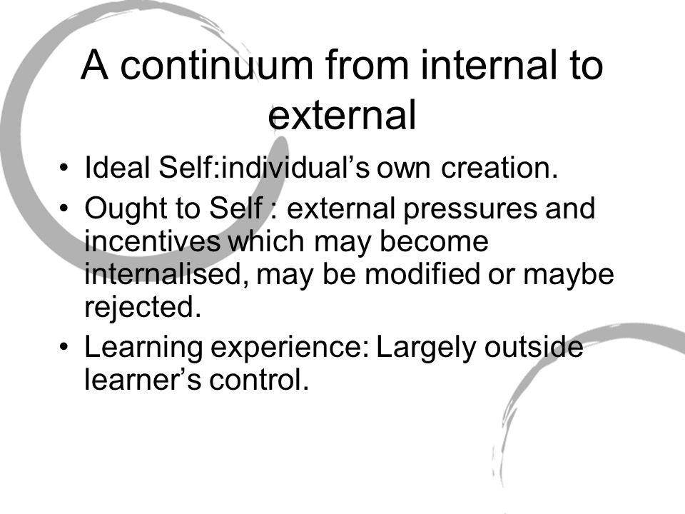 A continuum from internal to external