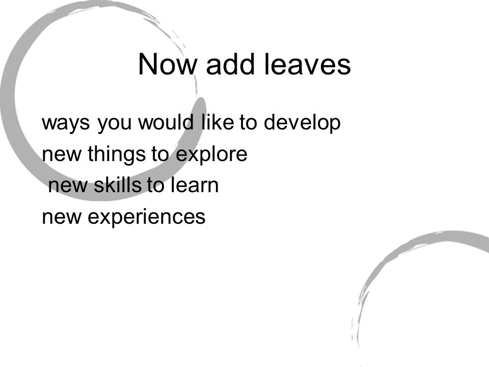 Now add leaves ways you would like to develop new things to explore