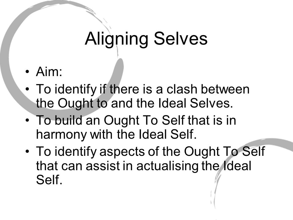 Aligning Selves Aim: To identify if there is a clash between the Ought to and the Ideal Selves.