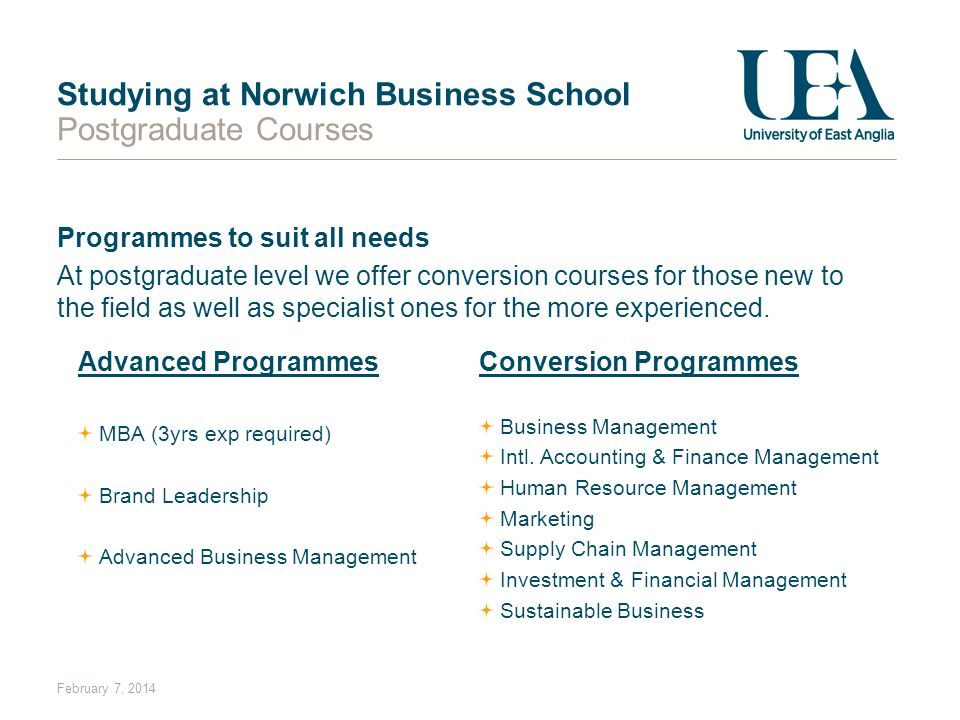 Studying at Norwich Business School Postgraduate Courses