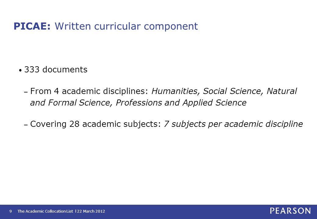 PICAE: Written curricular component