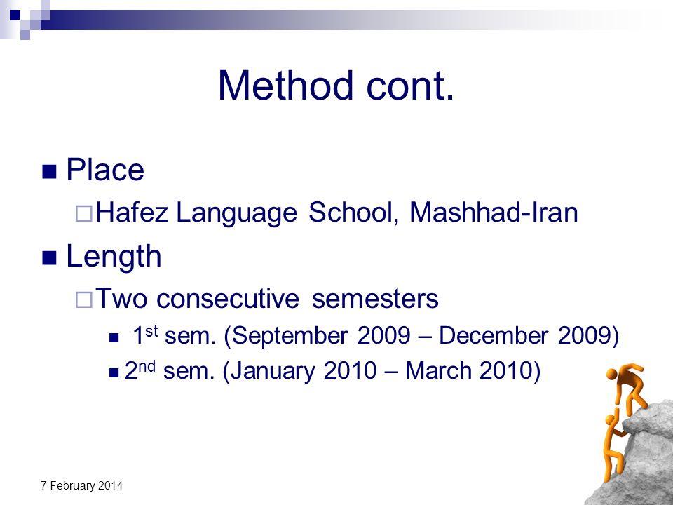 Method cont. Place Length Hafez Language School, Mashhad-Iran