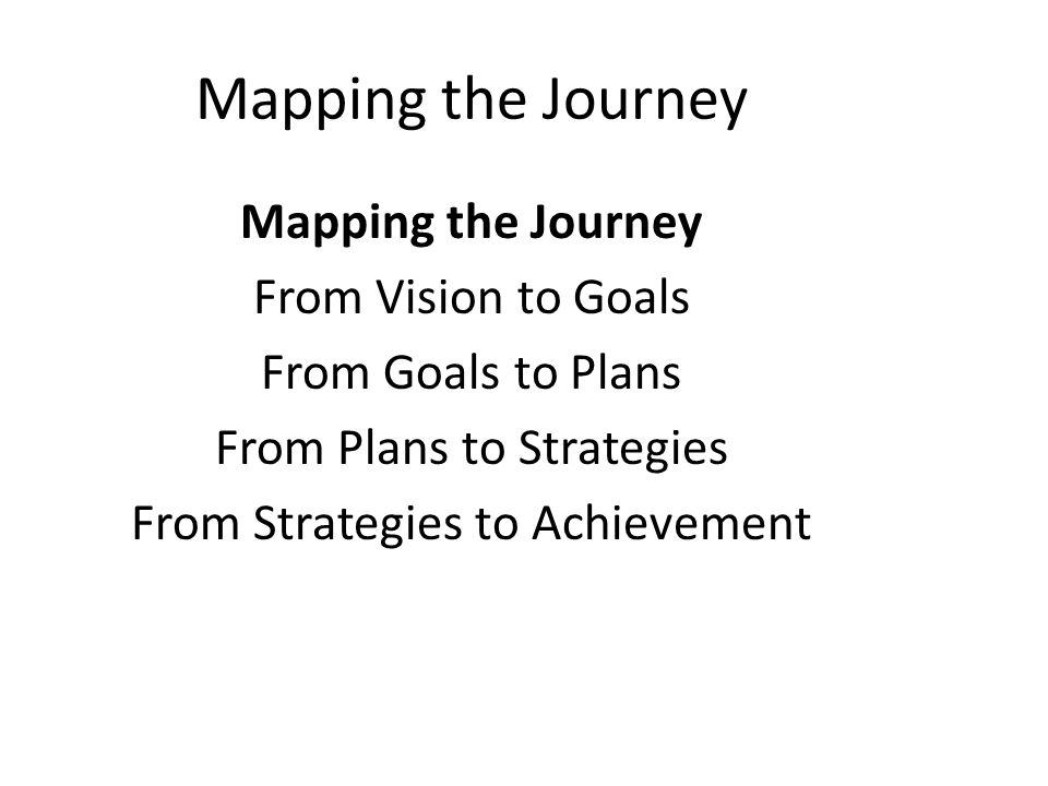 Mapping the Journey Mapping the Journey From Vision to Goals
